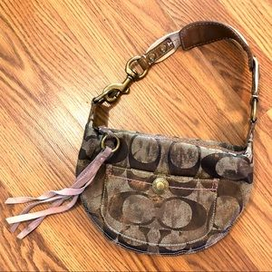 Coach Signature Brown and Lavender Hobo